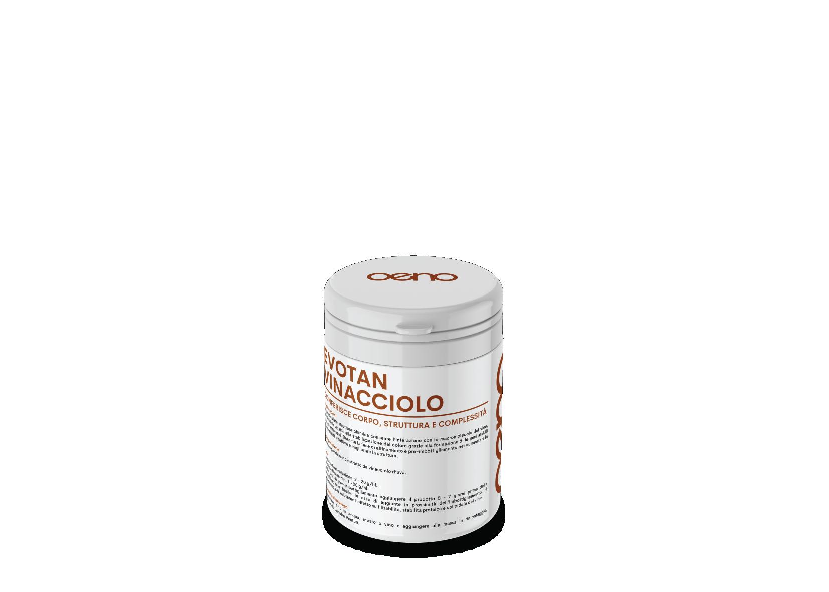 Tannino di vinaccolo ad elevato potere antiossidante, conferisce corpo e struttura, migliora e rende più netto il profilo sensoriale.